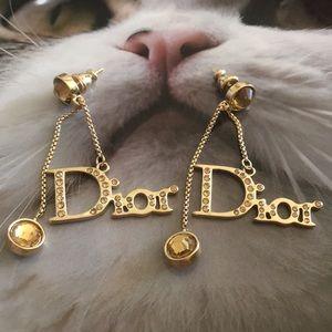 Crystal Inlaid Dior Dangling Logo Earrings